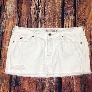 Hollister White Denim Distressed Mini Skirt